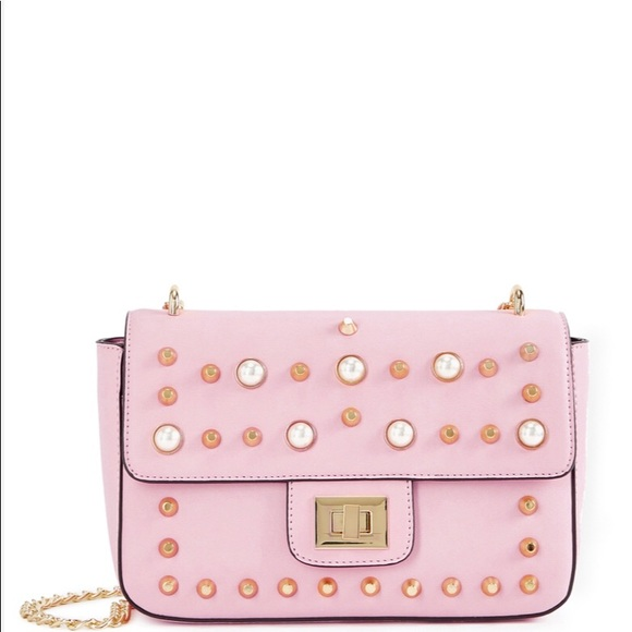 468e6660a Shoedazzle Pearl Studded Pink Chain Crossbody. M_5bd5d535aaa5b82343d4179f